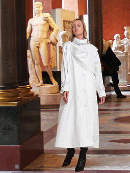 Higgs Leathers Charlotte (Designer White Leather Trench coats)